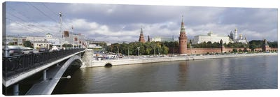 Bridge across a river, Bolshoy Kamenny Bridge, Grand Kremlin Palace, Moskva River, Moscow, Russia Canvas Art Print