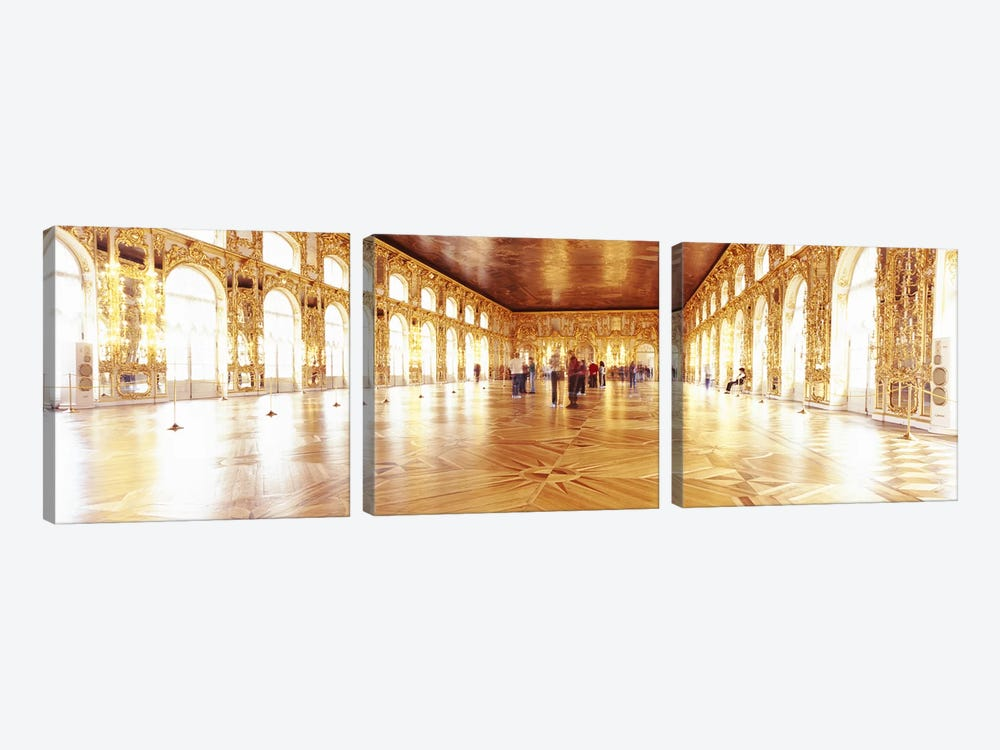 Group of people inside a ballroom, Catherine Palace, Pushkin, St. Petersburg, Russia by Panoramic Images 3-piece Canvas Wall Art