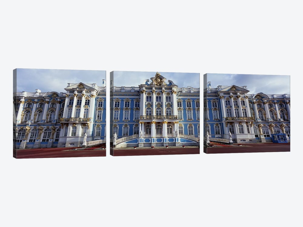Facade of a palace, Catherine Palace, Pushkin, St. Petersburg, Russia by Panoramic Images 3-piece Canvas Wall Art