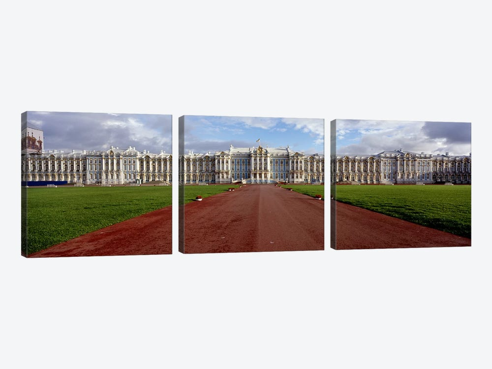 Dirt road leading to a palaceCatherine Palace, Pushkin, St. Petersburg, Russia by Panoramic Images 3-piece Art Print