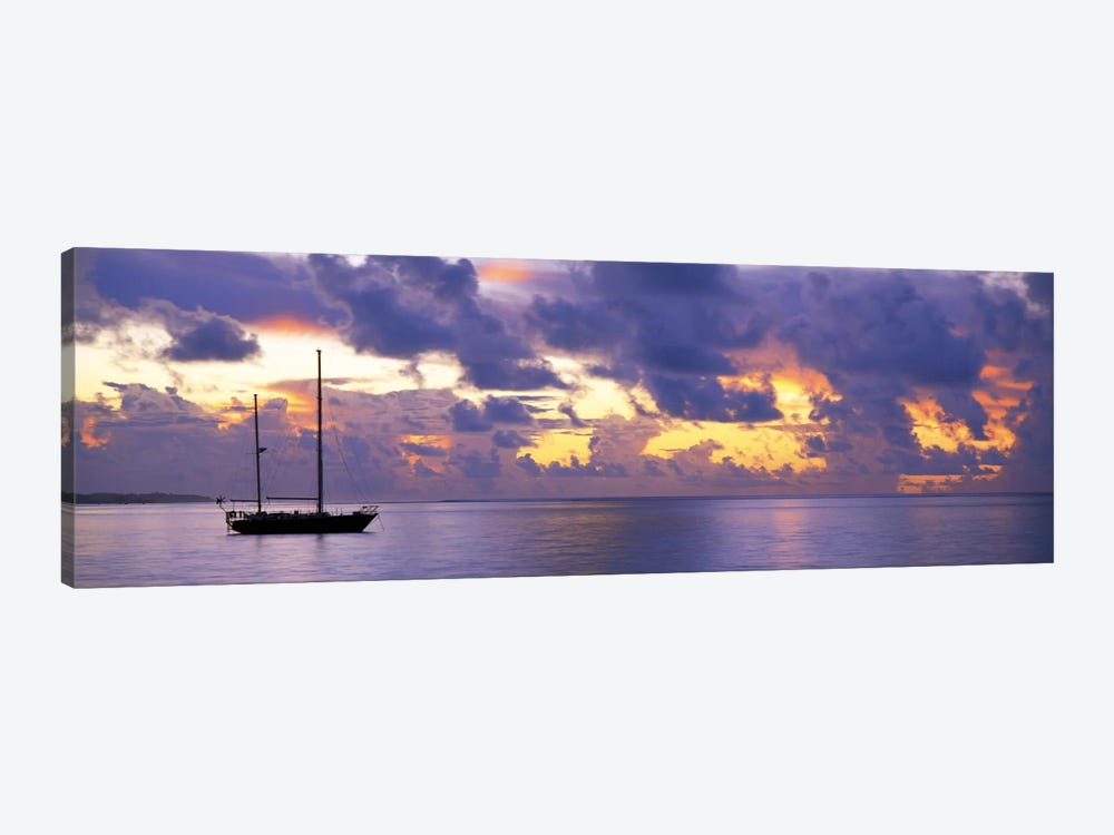 Sunset Moorea French Polynesia 1-piece Canvas Print