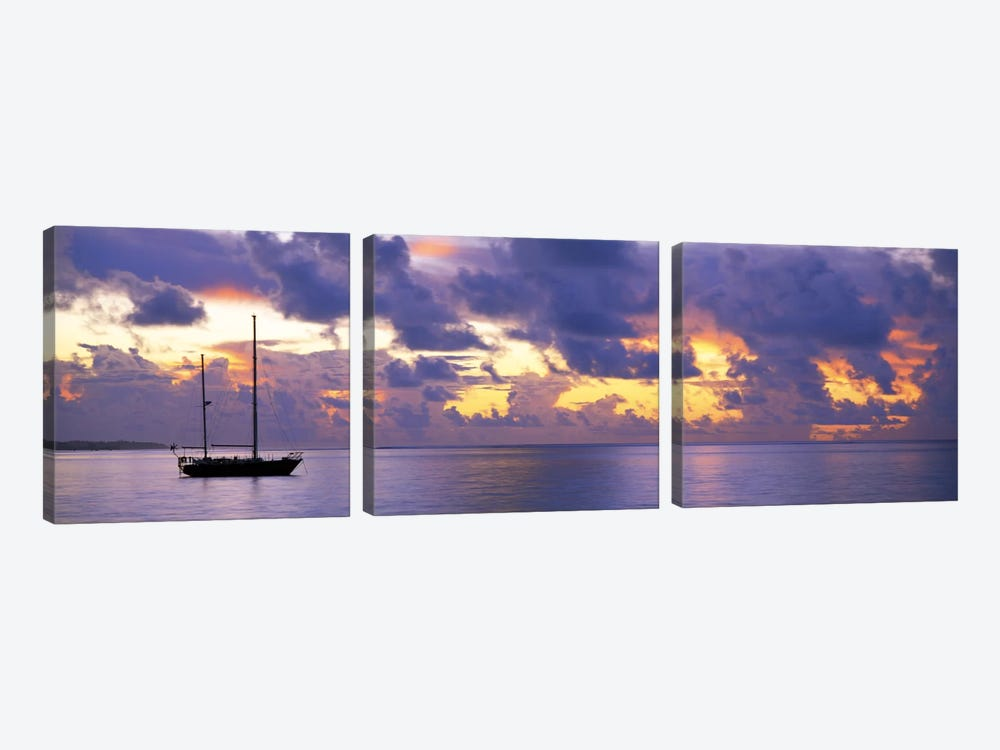 Sunset Moorea French Polynesia by Panoramic Images 3-piece Canvas Print