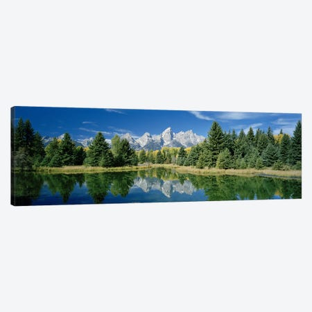 Teton Range And Its Reflection In Snake River, Schwabacher's Landing, Grand Teton National Park, Wyoming Canvas Print #PIM6228} by Panoramic Images Canvas Artwork