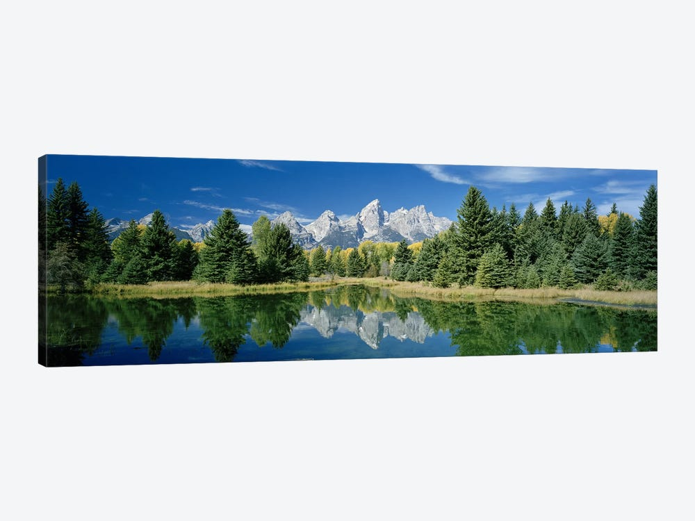 Teton Range And Its Reflection In Snake River, Schwabacher's Landing, Grand Teton National Park, Wyoming by Panoramic Images 1-piece Canvas Print