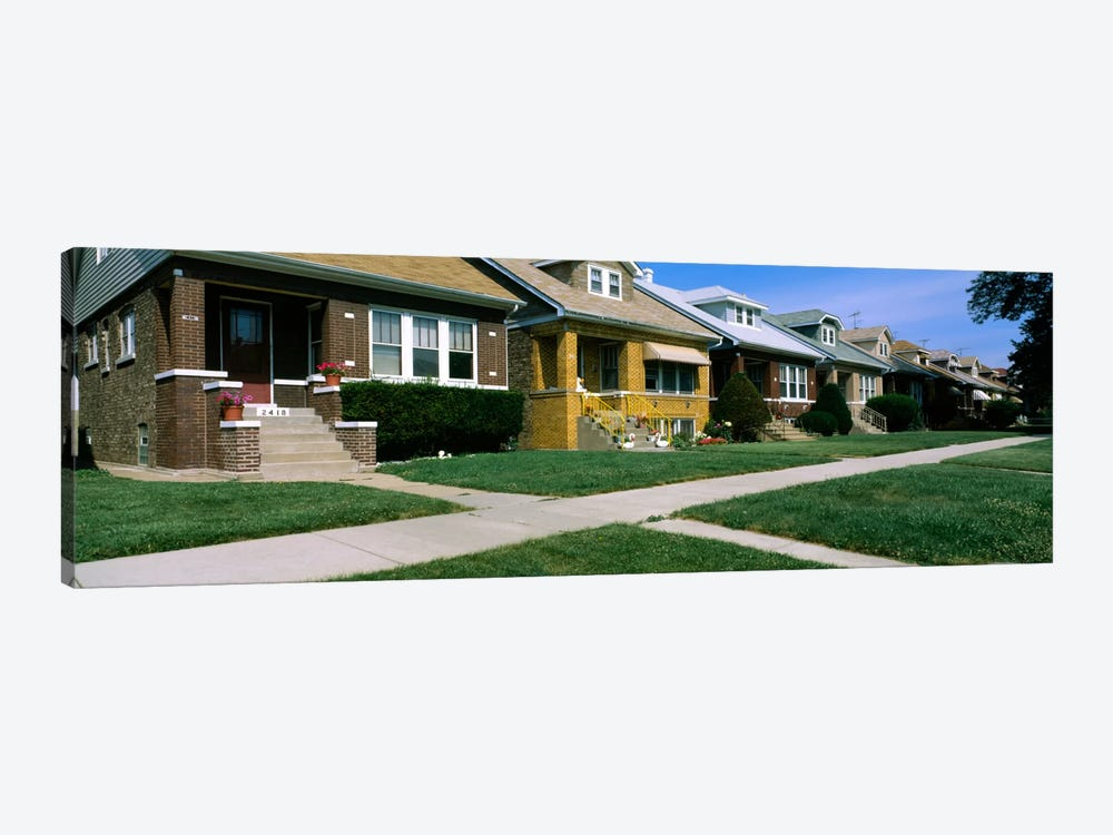 Bungalows in a row, Berwyn, Chicago, Cook County, Illinois, USA 1-piece Canvas Art Print