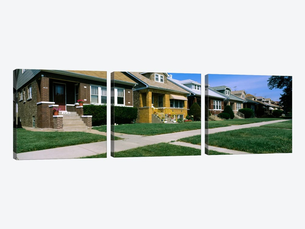 Bungalows in a row, Berwyn, Chicago, Cook County, Illinois, USA by Panoramic Images 3-piece Canvas Art Print