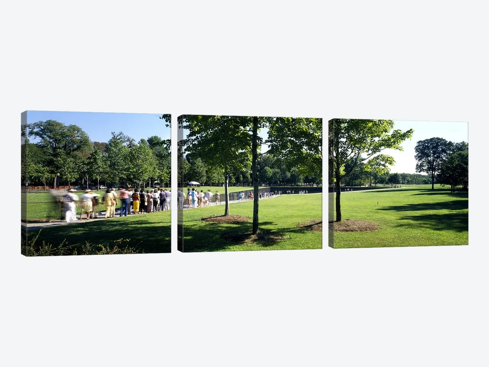 Tourists at a memorialVietnam Veterans Memorial, Washington DC, USA by Panoramic Images 3-piece Canvas Print