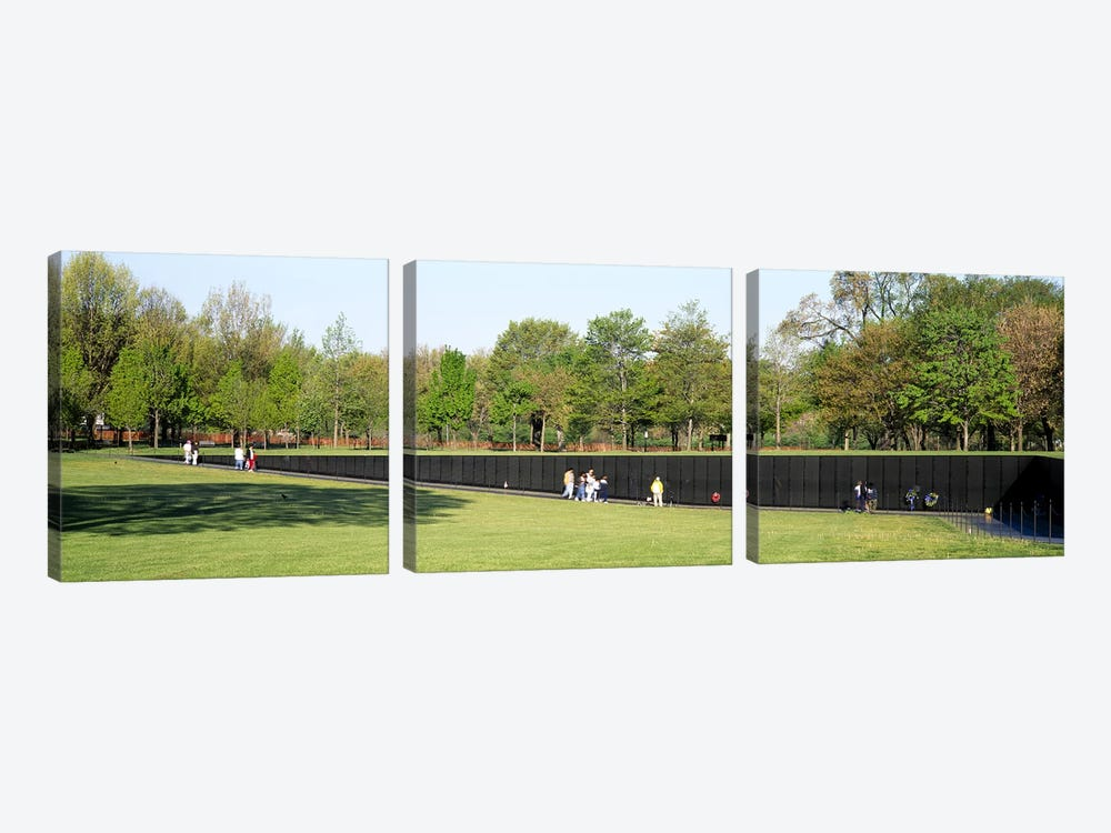 Tourists standing in front of a monumentVietnam Veterans Memorial, Washington DC, USA by Panoramic Images 3-piece Canvas Wall Art