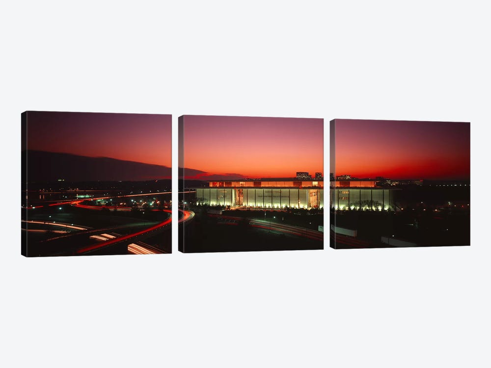 High angle view of a building lit up at nightJohn F. Kennedy Center for the Performing Arts, Washington DC, USA by Panoramic Images 3-piece Art Print