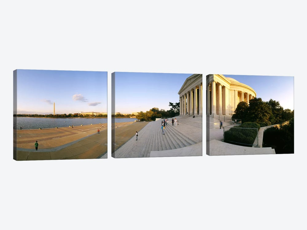 Monument at the riversideJefferson Memorial, Potomac River, Washington DC, USA by Panoramic Images 3-piece Art Print