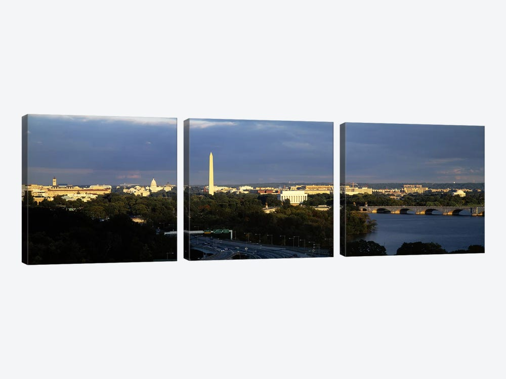 High angle view of a monumentWashington Monument, Potomac River, Washington DC, USA by Panoramic Images 3-piece Canvas Art Print