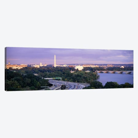 High angle view of monumentsPotomac River, Lincoln Memorial, Washington Monument, Capitol Building, Washington DC, USA Canvas Print #PIM6247} by Panoramic Images Art Print