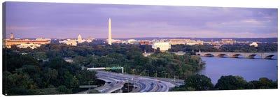 High angle view of monumentsPotomac River, Lincoln Memorial, Washington Monument, Capitol Building, Washington DC, USA Canvas Print #PIM6247