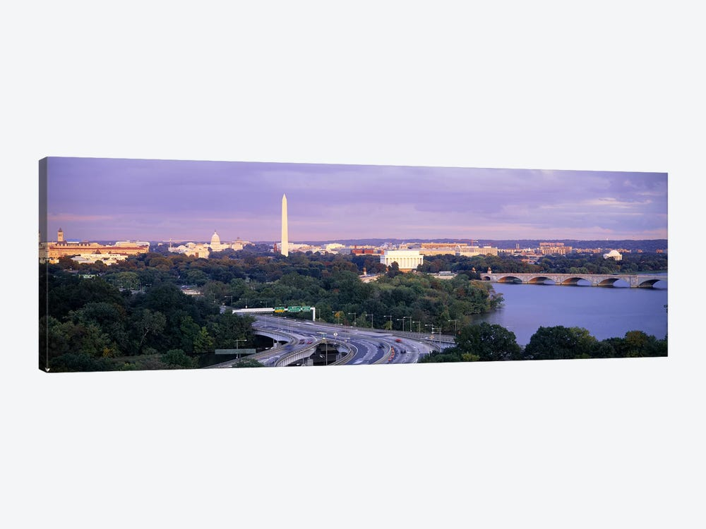 High angle view of monumentsPotomac River, Lincoln Memorial, Washington Monument, Capitol Building, Washington DC, USA by Panoramic Images 1-piece Canvas Artwork