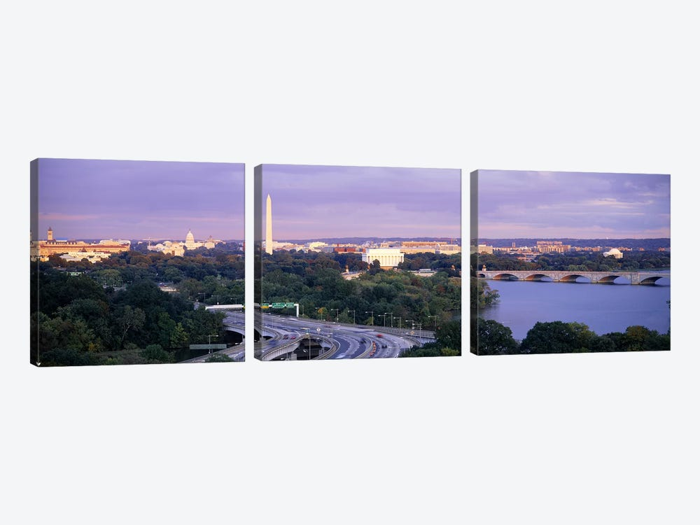 High angle view of monumentsPotomac River, Lincoln Memorial, Washington Monument, Capitol Building, Washington DC, USA by Panoramic Images 3-piece Canvas Wall Art