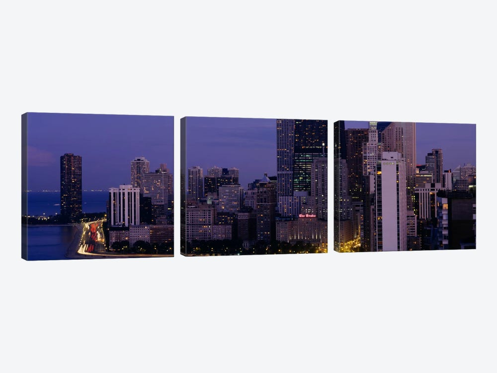 Buildings in a city, Chicago, Cook County, Illinois, USA by Panoramic Images 3-piece Canvas Wall Art