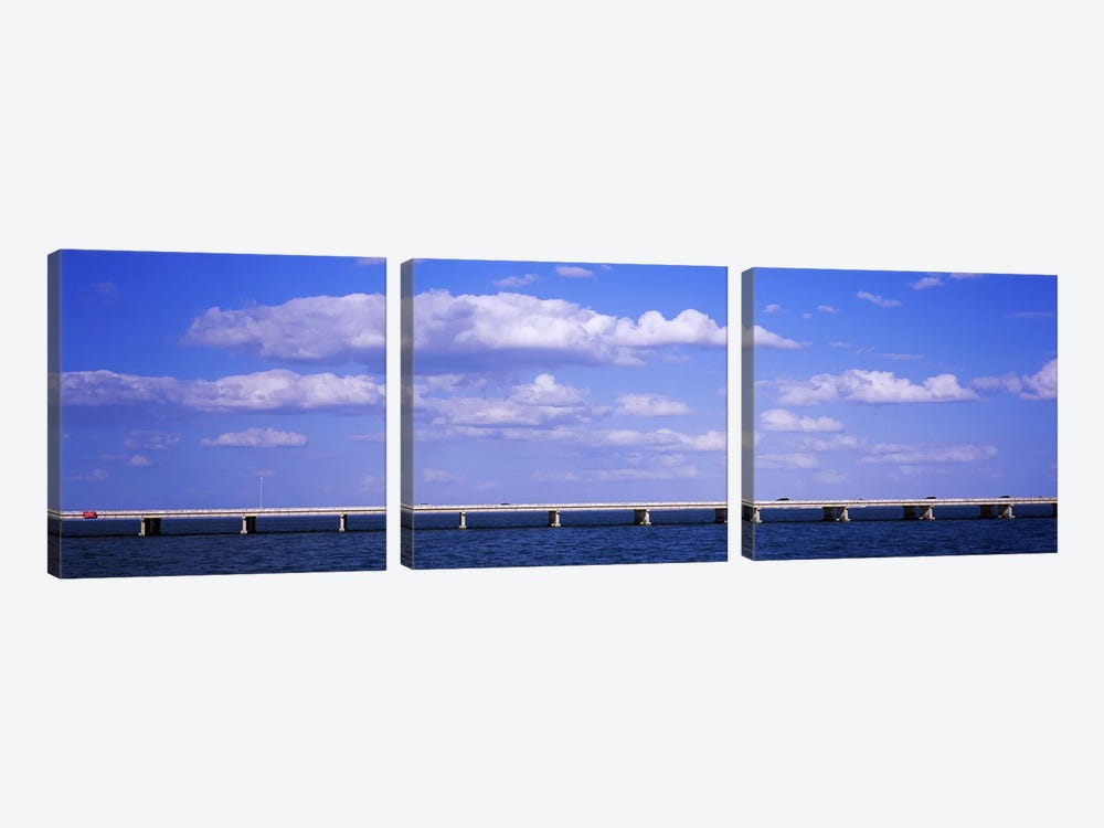 Bridge across a baySunshine Skyway Bridge, Tampa Bay, Florida, USA by Panoramic Images 3-piece Canvas Print