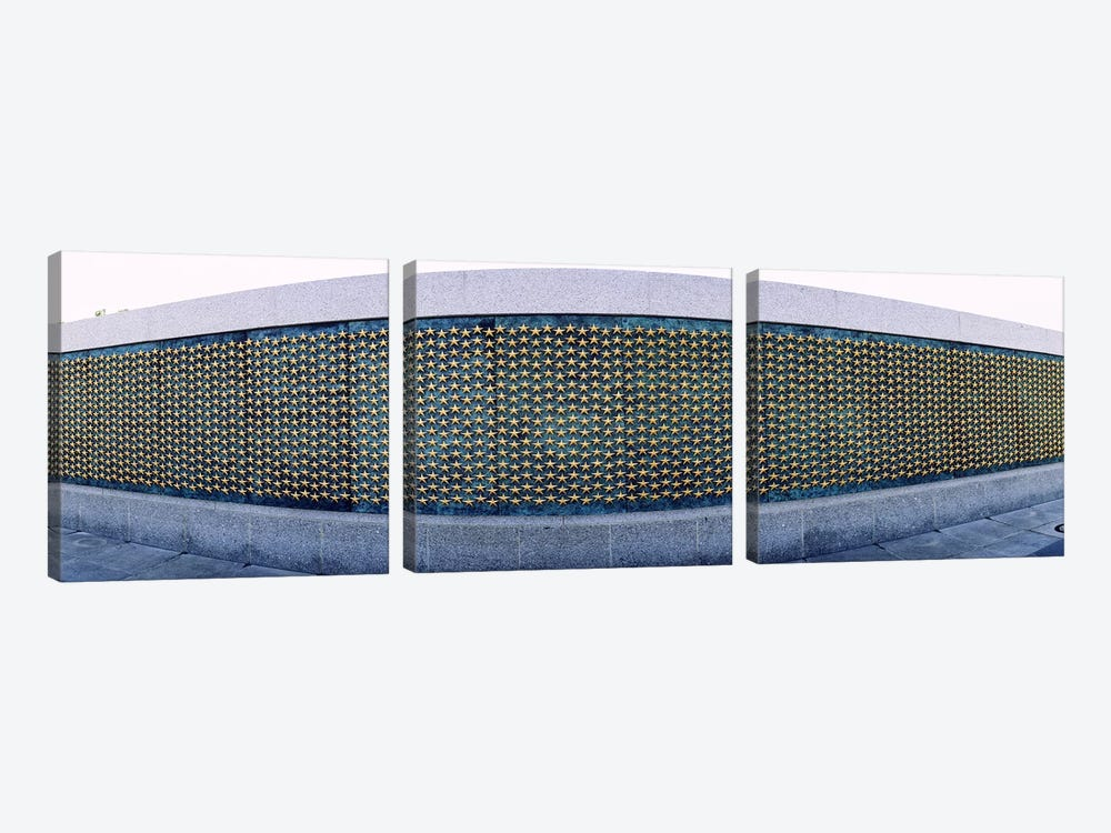 Stars mounted on the wall at a war memorialFreedom Wall, National World War II Memorial, Washington DC, USA by Panoramic Images 3-piece Art Print