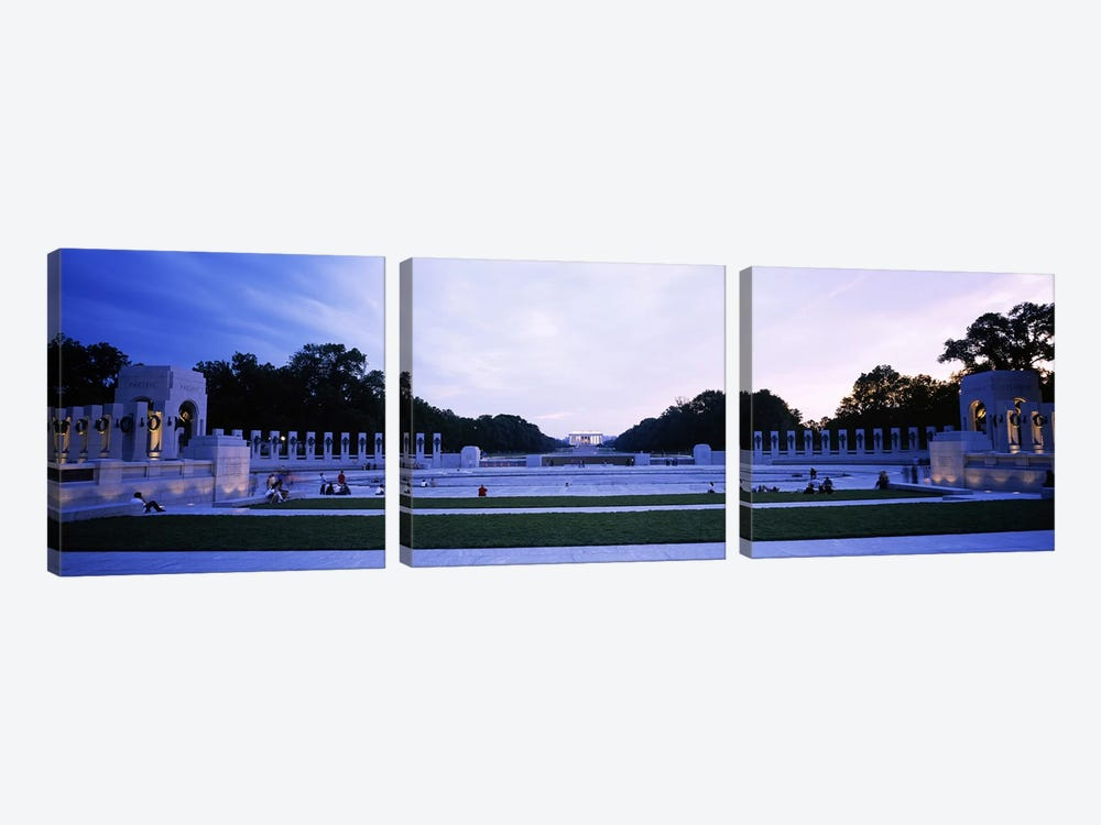 Tourists at a war memorialNational World War II Memorial, Washington DC, USA by Panoramic Images 3-piece Canvas Artwork