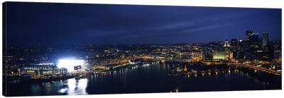 High angle view of buildings lit up at night, Heinz Field, Pittsburgh, Allegheny county, Pennsylvania, USA Canvas Art Print