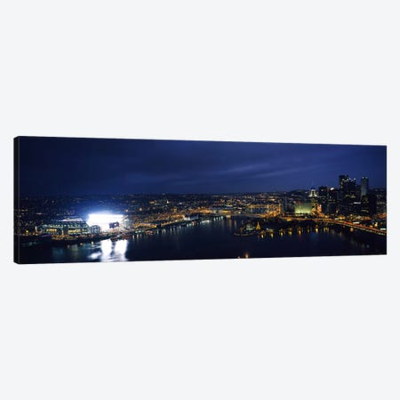 High angle view of buildings lit up at night, Heinz Field, Pittsburgh, Allegheny county, Pennsylvania, USA Canvas Print #PIM6255} by Panoramic Images Canvas Artwork