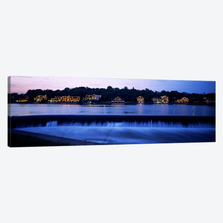 Boathouse Row lit up at duskPhiladelphia, Pennsylvania, USA Canvas Print #PIM6256} by Panoramic Images Canvas Art