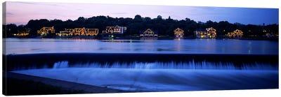Boathouse Row lit up at duskPhiladelphia, Pennsylvania, USA Canvas Print #PIM6256