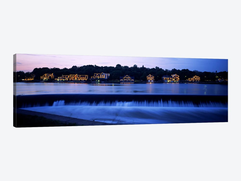 Boathouse Row lit up at duskPhiladelphia, Pennsylvania, USA by Panoramic Images 1-piece Canvas Wall Art