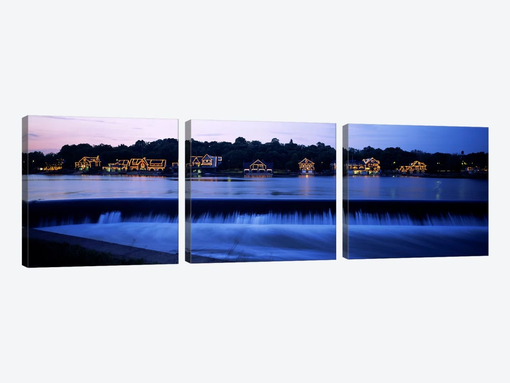 Boathouse Row lit up at duskPhiladelphia, Pennsylvania, USA by Panoramic Images 3-piece Canvas Artwork