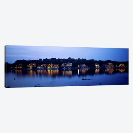 Boathouse Row lit up at dusk, Philadelphia, Pennsylvania, USA Canvas Print #PIM6257} by Panoramic Images Canvas Artwork