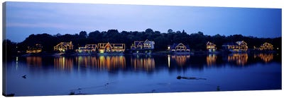 Boathouse Row lit up at dusk, Philadelphia, Pennsylvania, USA Canvas Art Print