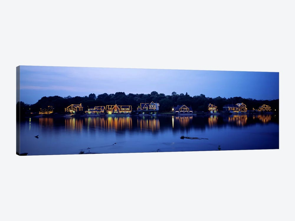 Boathouse Row lit up at dusk, Philadelphia, Pennsylvania, USA by Panoramic Images 1-piece Canvas Print