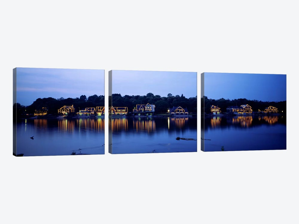 Boathouse Row lit up at dusk, Philadelphia, Pennsylvania, USA by Panoramic Images 3-piece Canvas Print