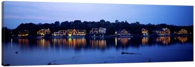 Boathouse Row lit up at dusk, Philadelphia, Pennsylvania, USA Canvas Art Print