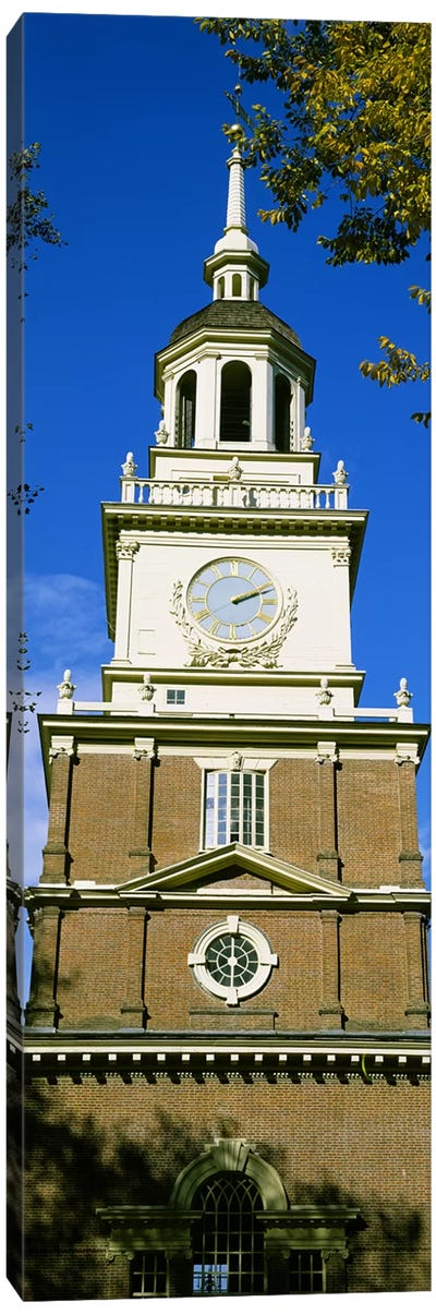 Low angle view of a clock tower, Independence Hall, Philadelphia, Pennsylvania, USA Canvas Print #PIM6258