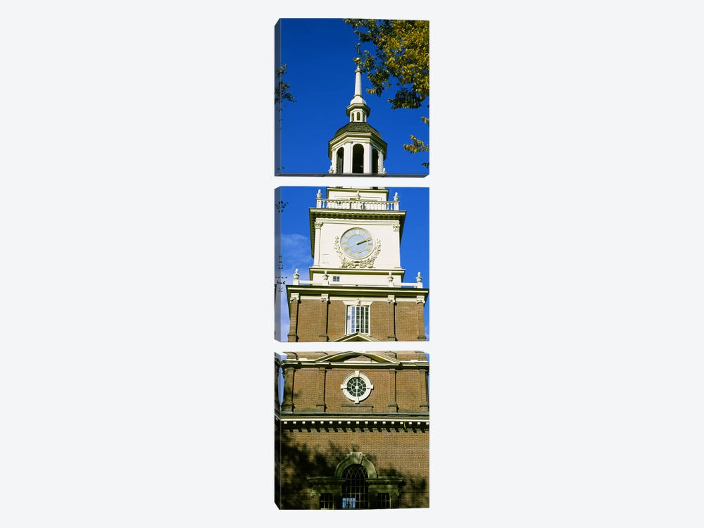 Low angle view of a clock tower, Independence Hall, Philadelphia, Pennsylvania, USA by Panoramic Images 3-piece Canvas Wall Art