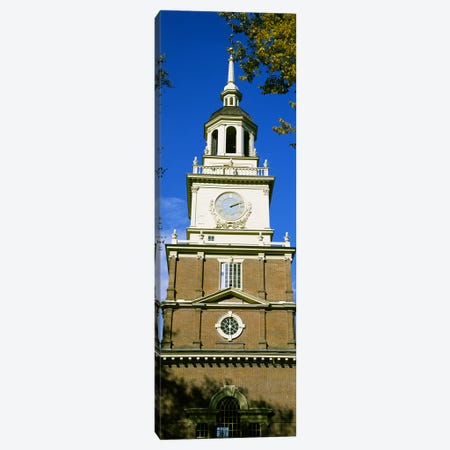 Low angle view of a clock tower, Independence Hall, Philadelphia, Pennsylvania, USA Canvas Print #PIM6258} by Panoramic Images Canvas Print