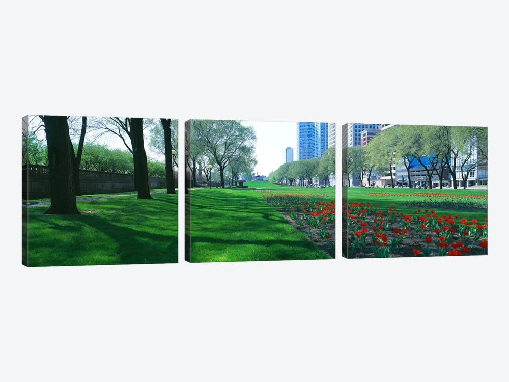 Public Gardens, Loop, Cityscape, Grant Park, Chicago, Illinois, USA 3-piece Art Print
