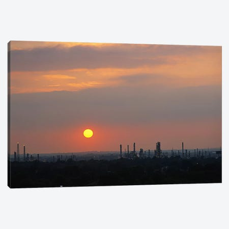 Sunset over a refinery, Philadelphia, Pennsylvania, USA Canvas Print #PIM6262} by Panoramic Images Canvas Artwork