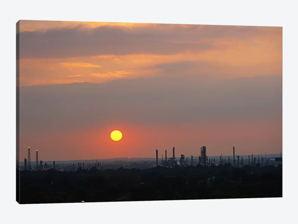 Sunset over a refinery, Philadelphia, Pennsylvania, USA by Panoramic Images 1-piece Art Print