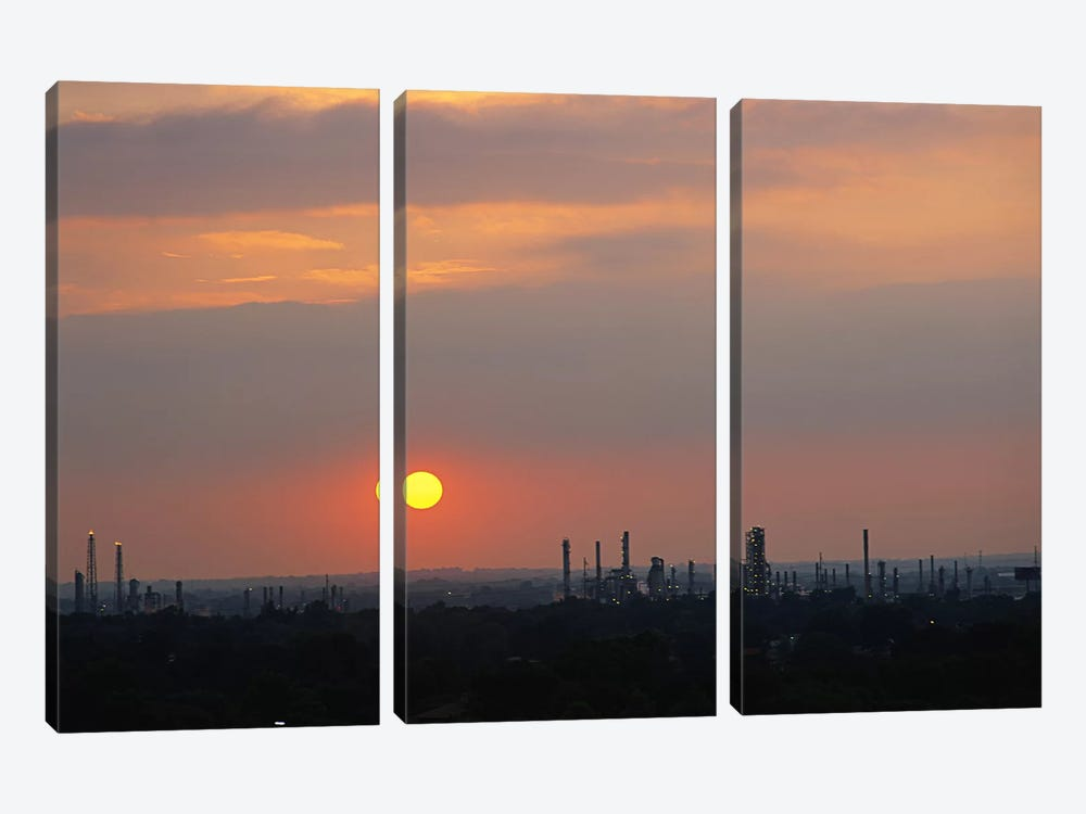 Sunset over a refinery, Philadelphia, Pennsylvania, USA by Panoramic Images 3-piece Art Print