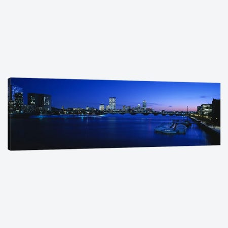 Buildings lit up at dusk, Charles River, Boston, Massachusetts, USA Canvas Print #PIM6263} by Panoramic Images Canvas Artwork