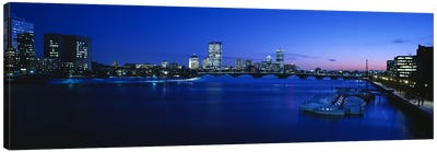 Buildings lit up at dusk, Charles River, Boston, Massachusetts, USA Canvas Art Print