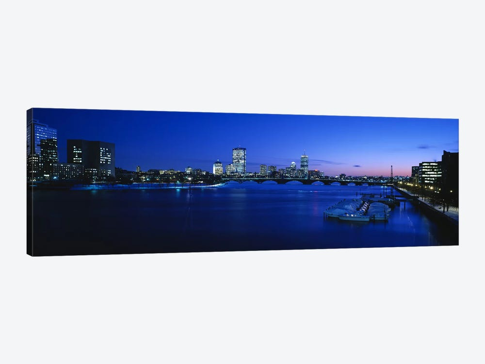 Buildings lit up at dusk, Charles River, Boston, Massachusetts, USA by Panoramic Images 1-piece Canvas Wall Art
