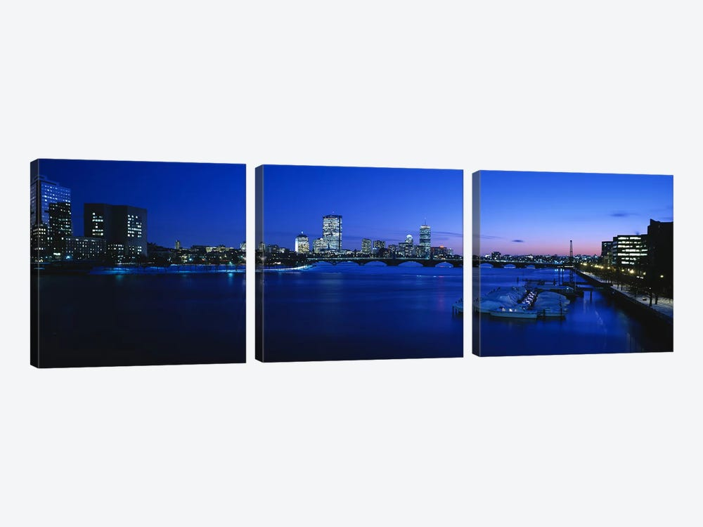 Buildings lit up at dusk, Charles River, Boston, Massachusetts, USA by Panoramic Images 3-piece Canvas Wall Art