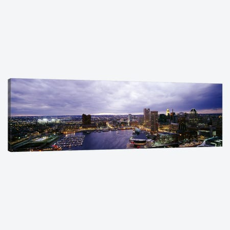 Buildings lit up at dusk, Baltimore, Maryland, USA #2 Canvas Print #PIM6264} by Panoramic Images Canvas Print