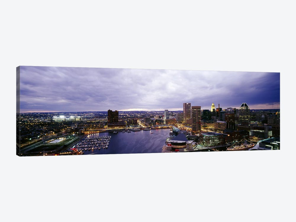 Buildings lit up at dusk, Baltimore, Maryland, USA #2 by Panoramic Images 1-piece Canvas Art Print