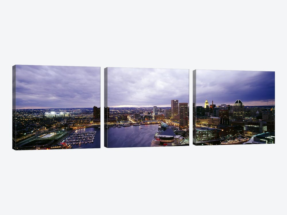 Buildings lit up at dusk, Baltimore, Maryland, USA #2 by Panoramic Images 3-piece Canvas Art Print