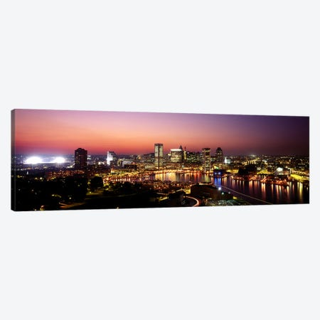 Buildings lit up at duskBaltimore, Maryland, USA Canvas Print #PIM6265} by Panoramic Images Canvas Print