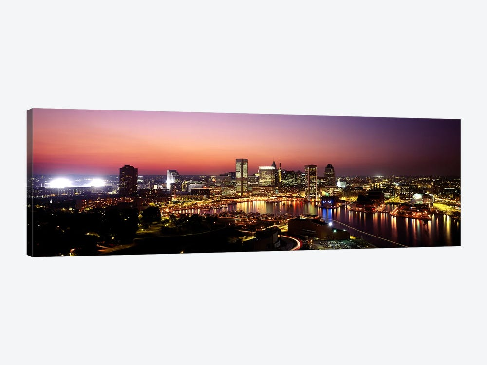 Buildings lit up at duskBaltimore, Maryland, USA by Panoramic Images 1-piece Canvas Artwork